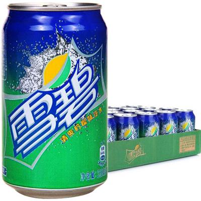 可口可乐雪碧碳酸饮料 清爽柠檬味汽水 易拉罐330ml*24听 整箱装