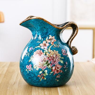 每日精進(enhancement) 創意美式彩繪花鳥臺面插花瓶陶瓷小奶壺工藝家居裝飾家用花瓶擺件