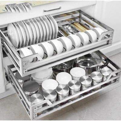 碗盘推拉架子省空间拉篮厨房橱柜时尚抽屉式多层双层内置碗碟厨柜