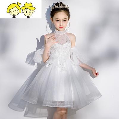 女童礼服裙洋气小女孩花童白色纱裙走秀挂脖公主裙儿童钢琴表演服