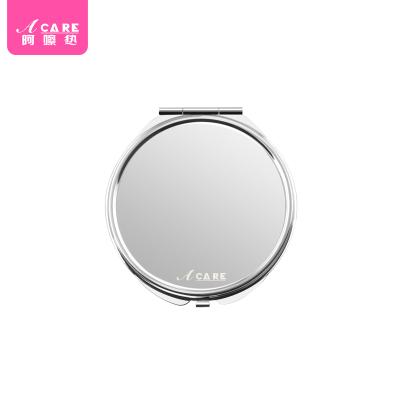 acare艾呵 隨身大圓鏡便攜鏡化妝鏡不銹鋼可折疊鏡可愛雙面美妝鏡子韓國