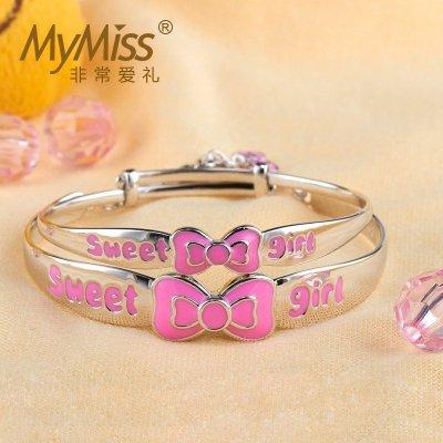 MyMiss 甜心蝴蝶結寶寶銀飾品嬰兒童925銀女手鐲 高檔禮物套裝禮盒母女飾品滿月周歲送禮