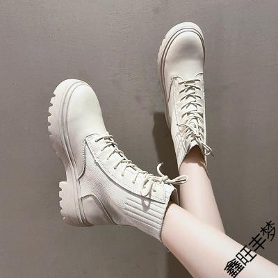 馬丁靴女潮ins顯腳小2020年新款秋季百搭透氣薄款英倫風厚底短靴