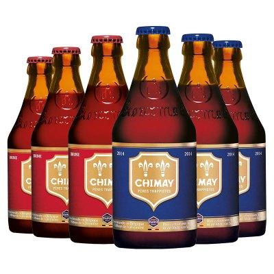 比利時進口精釀 Chimay 智美藍帽*3/紅帽*3啤酒330ml 6瓶裝