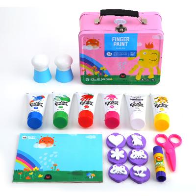 Joan Miro 美樂手指畫顏料安全可水洗顏料兒童涂鴉寶寶畫畫工具手指畫套裝 粉色女孩款 創意玩具