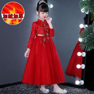 女童洋气演出礼服裙秋冬儿童加绒连衣裙加厚红色民族风女孩公主裙
