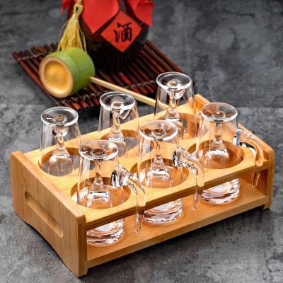 白酒杯套裝水晶玻璃杯一口杯烈酒杯杯架分酒器套裝小酒杯酒具套裝 6只100ml分酒器+6只15ml高腳手工杯+杯架