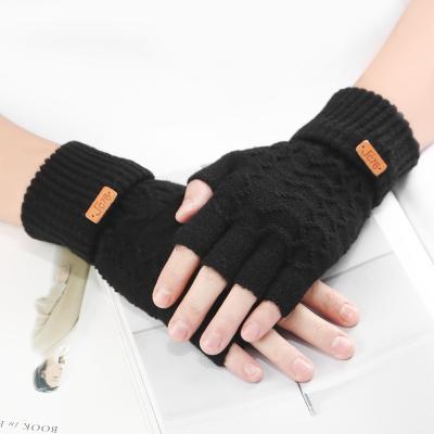 半指手套男士冬季保暖加厚韩版针织毛线半截露指手套冬学生办公