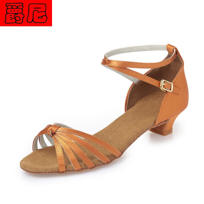 儿童拉丁舞鞋女孩女童少儿软底中跟恰恰初学者女舞蹈鞋子