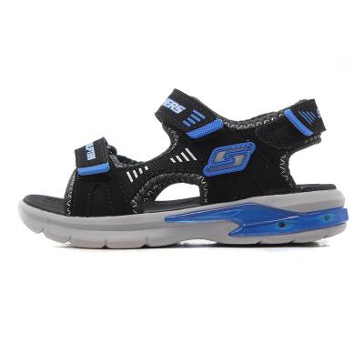 skechers斯凱奇正品童鞋夏季男小大童閃燈涼鞋運動鞋90555L 90555L/BKRY黑色+藍色