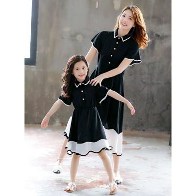 母女連衣裙夏裝2020年新款親子女童短袖洋氣不一樣的親子裝公主裙威珺