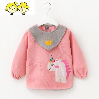 宝宝吃饭罩衣秋冬季长袖婴儿饭兜防水防脏围兜幼儿园儿童围裙护衣