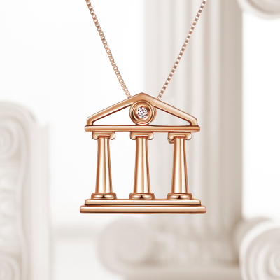 莱绅通灵珠宝 钻石项链 钻石 项链女 18K金彩金玫瑰金钻石吊坠 雅典娜项链