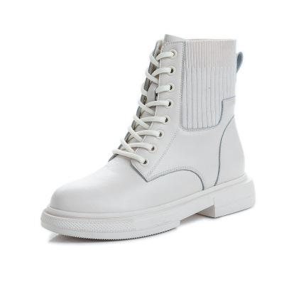 策霸2020新款英倫風馬丁靴女中筒復古真皮短靴女休閑時尚鞋子女