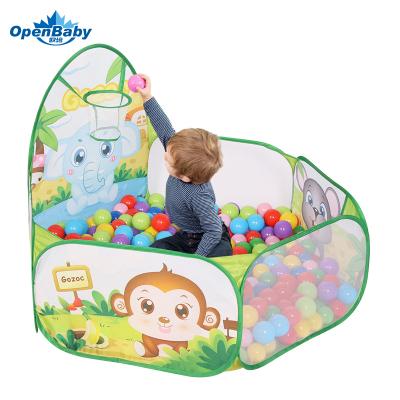 歐培(OPEN BABY)兒童帳篷室內游戲池球池 海洋球池寶寶游戲屋波波球池 寶寶樂園帶投球框 綠色大象+50球