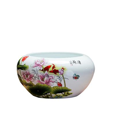景德镇陶瓷鱼缸青花瓷笔洗金鱼乌龟缸睡莲碗莲花盆桌面摆件养鱼盆