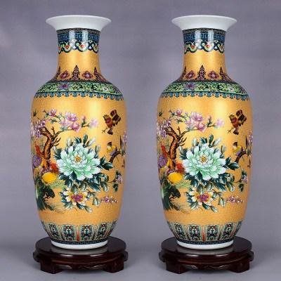 十门造器 206景德镇陶瓷器花瓶花插珐琅彩仿古中式客厅卧室摆件送底座