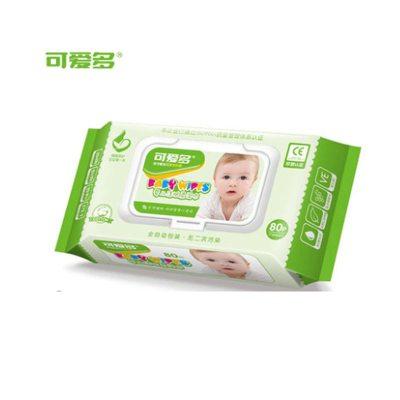 可爱多婴儿洁肤柔湿巾新生儿绵柔湿纸巾80片*1包15cm*18cm盖装加大厚湿巾