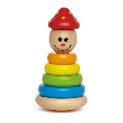 Hape小丑堆塔年齡段1-3歲疊疊樂寶寶嬰幼兒童益智疊疊高拼插玩具木制男孩女孩玩具