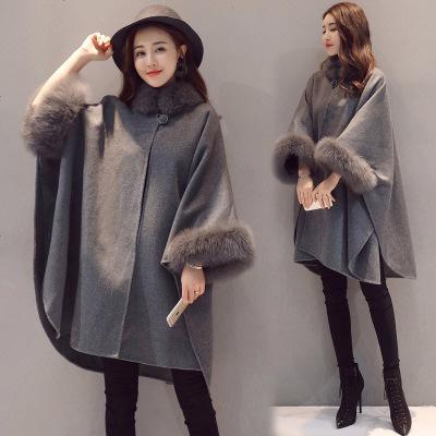 毛呢披风斗篷外套女秋冬中长款新款呢子赫本羊毛披肩2019流行大衣