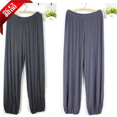 夏季薄款男士莫代尔家居长裤加肥加大码居家裤男睡裤莫代尔瑜伽裤