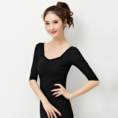 舞蹈练功服女跳舞上衣修身服装现代古典舞瑜伽教师形体黑色长袖衣