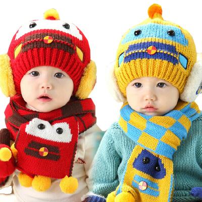 宝宝冬季童帽 婴儿帽子宝宝帽子冬季新款小汽车护耳帽+围巾套装
