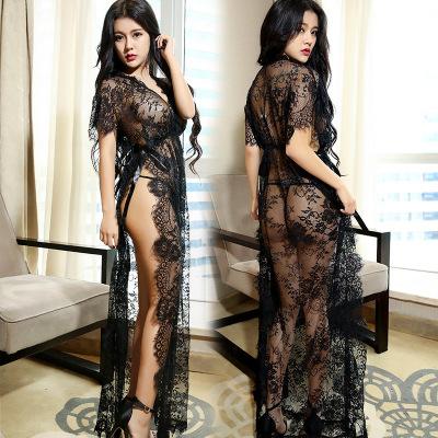 眉奈尔高端情趣内衣诱惑睡衣套装性感透明蕾丝欧美睡裙性感长裙夫妻调情情趣睡性感成人用品