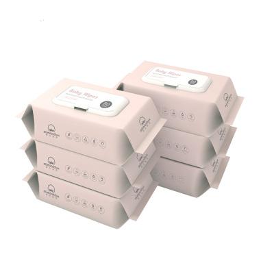 棉花秘密(mimicotton) 嬰兒珍珠紋濕巾手口濕巾濕紙巾帶蓋80抽整箱6包裝