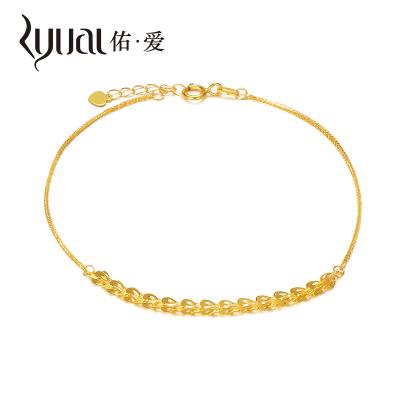 Ryual 18K金手鏈黃金色女士手鏈女款彩金肖邦鳳尾手鏈K金手鏈送戀人女友計價款鏈長20cm可調節鏈尾2.5CM