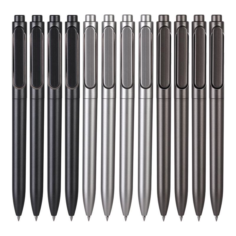 得力(deli)A12按动中性笔 12支/盒 0.5mm按动中性笔商务办公签字笔 碳素笔水笔 学生写字笔水性笔 黑色