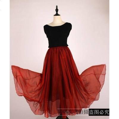 舞蹈半身裙成人长款纱裙酒红色雪纺舞蹈裙练功长裙考级蕃社姑娘