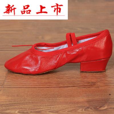 因樂思(YINLESI)民族舞蹈鞋女式軟底練功鞋帶跟黑色跳舞鞋網布教師鞋芭蕾舞鞋