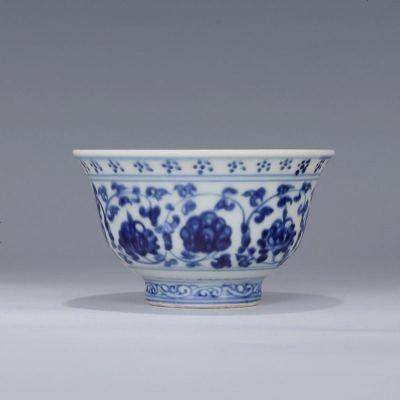 明 永乐 青花缠枝双狮滚球纹 压手杯 古董瓷器古玩古瓷器老货收藏