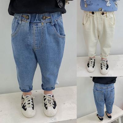 兒童牛仔褲子2020新款洋氣男童休閑褲寶寶運動褲嬰兒長褲潮威珺