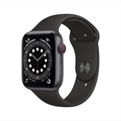 Apple Watch Series 6 44毫米 (GPS+蜂窩版 深空灰色鋁金屬表殼 黑色運動型表帶)