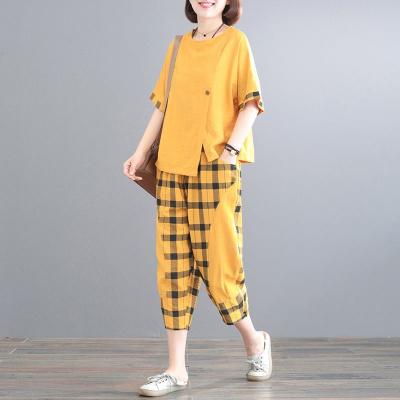 追記 大碼女裝胖mm減齡套裝女2020新款洋氣格子拼接寬松兩件套九分褲女