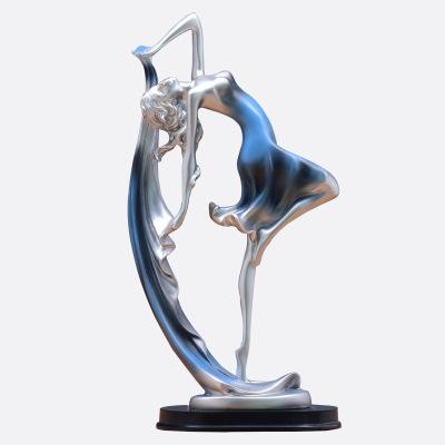 歐式客廳家居裝飾品創意酒柜電視柜抽象工藝擺件塑藝術禮品擺設-金色【小號】 藝術OK少女一對【禮盒】