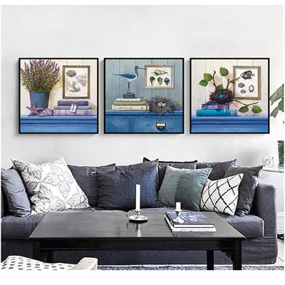 北歐客廳裝飾畫沙發背景墻壁畫古達現代簡約三聯畫臥室床 金色 50*50【適合2.5米左右墻面】9mm薄板+防水布紋膜+經