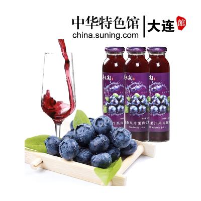 关东阁 野生蓝莓汁300ml*8瓶 果汁含量≥50% 无添加剂 大兴安岭特产果汁饮料整箱玻璃瓶 礼盒装