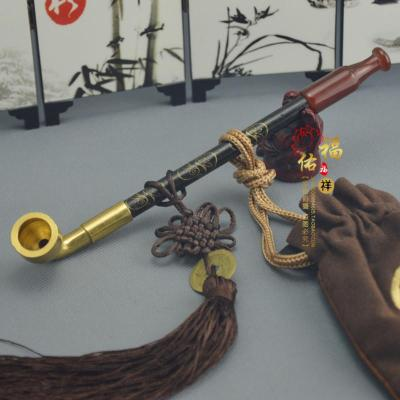 传统老式烟斗 烟袋锅旱烟袋 手工实木烟杆烟枪 玛瑙嘴 黄铜烟锅