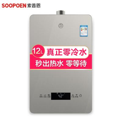 索普恩(SOOPOEN)零冷水 燃气热水器天然气家用12升水气双调恒温即热V系列
