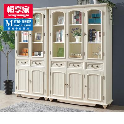 恒享家 書柜 美式鄉村全實木書柜置物架帶門落地簡約書架組合辦公室客廳玻璃門白色 SG#501