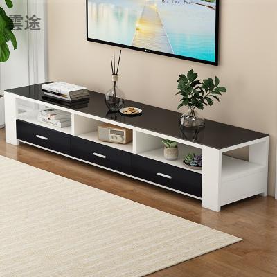 電視柜茶幾組合現代簡約小戶型家用客廳鋼化實木電視機柜定制 1.2M電 1.4M電視柜(暖白+黑抽+黑實木) 組裝