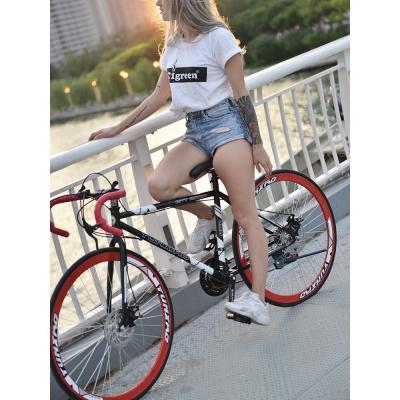 公路賽死飛自行車變速彎把網紅實心胎活飛單車雙碟剎成人學生男女死飛公路車自行車便攜輕巧輕便腳踏車男女變速腳踏車可帶人