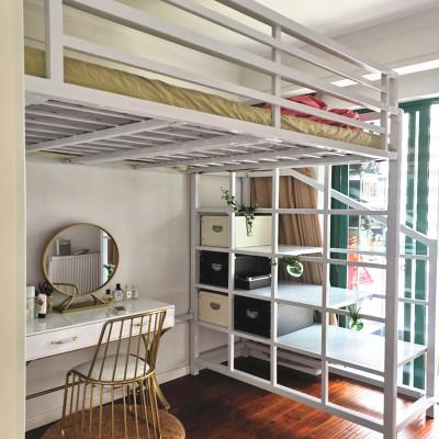歐若凡北歐公寓宿舍高架床鐵藝上床下桌小戶型單層上下鋪子母樓閣床