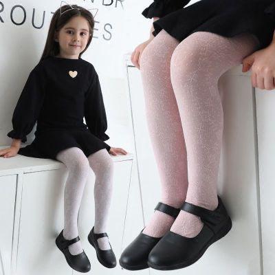 夏季薄款女童鏤空印花打底褲連褲襪舞蹈襪子白色彩色襪 莎丞