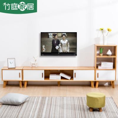 汐巖北歐電視柜簡約現代茶幾電視柜實木儲物柜小戶型迷你客廳地柜