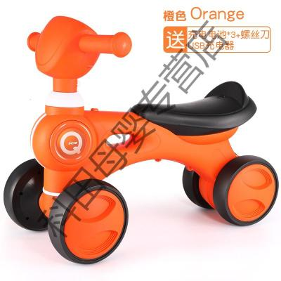 兒童四輪平衡車1-3歲2無腳踏滑行滑步車寶寶溜溜車小孩扭扭車玩具應學樂 【升級充電電池版】音樂燈光滑行學步車(橙)