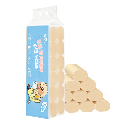 纖凈 本色無芯衛生紙母嬰適用親膚加厚本色卷紙12卷*1提